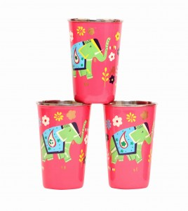 Steel Tumbler Big-ELEPHANT Star-Pink ( set of 3 )