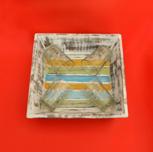 Upcycled Wooden Tray with 4  glasses