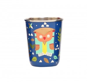 Steel Tumbler Small-Owl Tie Blue