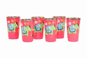 Steel Tumbler Big-ELEPHANT Star-Pink ( set of 6 )