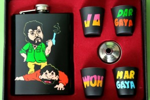Hip Flask with Shot Glasses - Sholay Gabbar