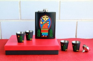 Hip Flask with Shot Glasses - Bengali Babushka