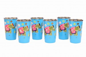 Steel Tumbler Big-ELEPHANT Star-Blue ( set of 6 )