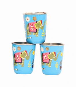Steel Tumbler Small-ELEPHANT STAR-Blue ( set of 3 )
