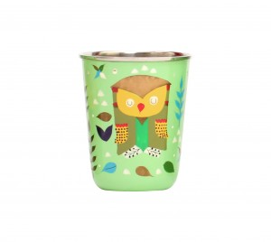 Steel Tumbler Small-Owl Tie Green