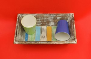 Wooden Tray with 2 ceramic glasses