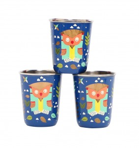 Steel Tumbler Small-Owl Tie Blue ( set of 3 )