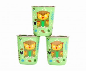 Steel Tumbler Small-Owl Tie Green ( set of 3 )