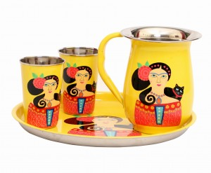 Steel Lady Set - Plate, 2 glasses & Jug
