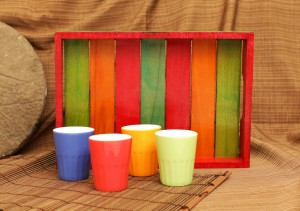 Rustic Mutlicolour Wooden Tray with 4 ceramic glasses