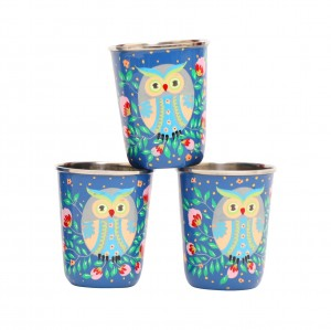 Steel Tumbler Small-Owl Eye Blue ( set of 3 )