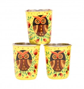 Steel Tumbler Small-Owl Eye Yellow  ( set of 3 )