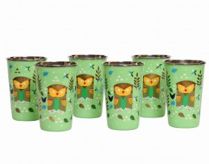 Steel Tumbler Big-Owl Tie Green ( set of 6 )
