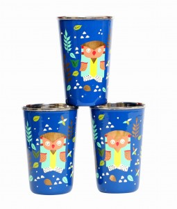 Steel Tumbler Big-Owl Tie Blue ( set of 3 )