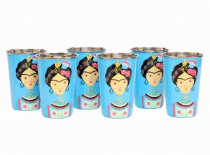 Steel Tumbler Big-Lady Rose Blue ( set of 6 )