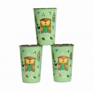 Steel Tumbler Big-Owl Tie Green ( set of 3 )
