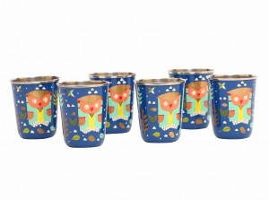 Steel Tumbler Small-Owl Tie Blue ( set of 6 )